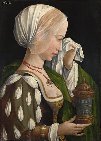 Master of the Legend of the Magdalen - The Magdalen Weeping, c 1525. Oil on oak panel, 52cm 34.9 cm. National Gallery, London.