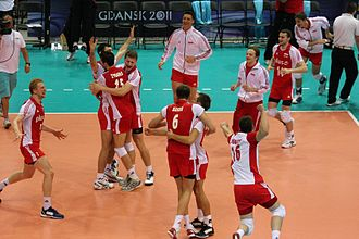 Poland men's national volleyball team - Poland after winning match ball of 3rd place match against Argentina on World League 2011 held at Ergo Arena, Gdańsk.
