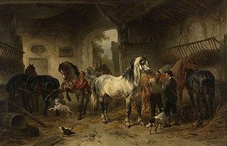Interieur van een stal met paarden en figuren