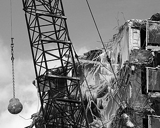 Demolition - A wrecking ball in action at the demolition of the Rockwell Gardens.
