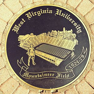 Mountaineer Field (1924) - Plaque marking where Mountaineer Field was between 1924-1979