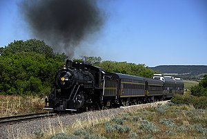 San Luis and Rio Grande Railroad - SLRG excursion train climbing out of La Veta, Colorado, 2008.