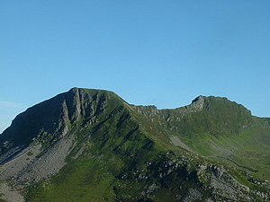 Nantlle Ridge - Y Garn (left), the usual starting point for the Nantlle Ridge walk, seen from the slopes of Mynydd Mawr