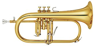 Brass instrument - Flugelhorn with three pistons and a trigger