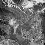 Yanert Glacier, terminus of valley glacier turning into rock glacier, August 25, 1963 (GLACIERS 5094).jpg