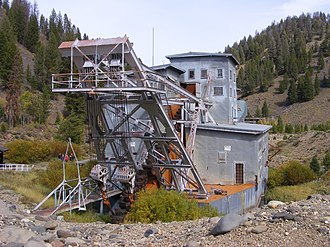 Gold dredge - The Yankee Fork dredge near Bonanza City, Idaho, which operated into the 1950s.