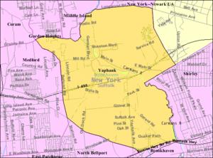 Yaphank, New York - Image: Yaphank map
