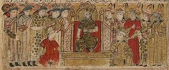 Yazdegerd III - 14th-century Shahnameh illustration of the coronation of Yazdegerd III, who is incorrectly portrayed as an adult.