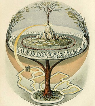 Christmas tree - From Northern Antiquities, an English translation of the Prose Edda from 1847. Painted by Oluf Olufsen Bagge.