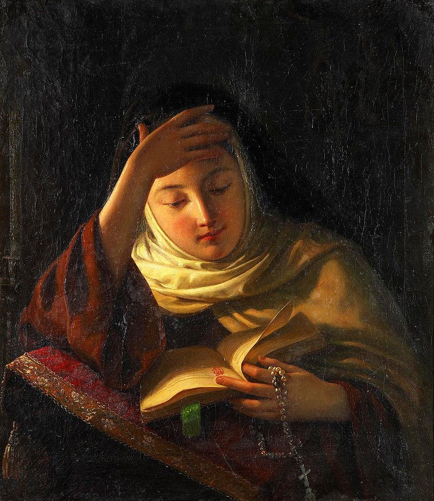 File Young Nun At Prayer By Sergei Gribkov 1852 Jpg