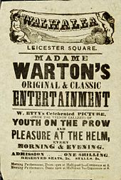 "Handbill advertising ""Madame Warton's performance of Youth on the Prow and Pleasure at the Helm"""