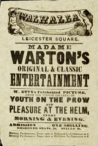 Youth on the Prow, and Pleasure at the Helm - Gratuitous nudity made Youth and Pleasure a popular piece for tableau vivant performances, at the time the only form of live entertainment in which nudity was permitted.