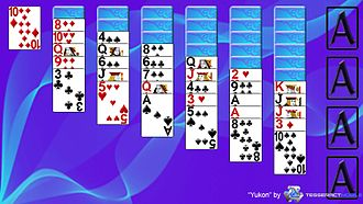 Yukon (solitaire) - This is a screenshot of the solitaire game Yukon layout.