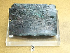 Celtiberian script - Image: Zaragoza Museo Bronce epigráfico