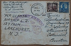 Zeppelin mail - Letter on the first Germany flight of the ''Graf Zeppelin'' (1928)