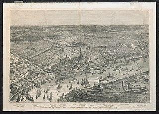Zicht op de stad en de rede van Antwerpen tijdens de wereldtentoonstelling van 1885