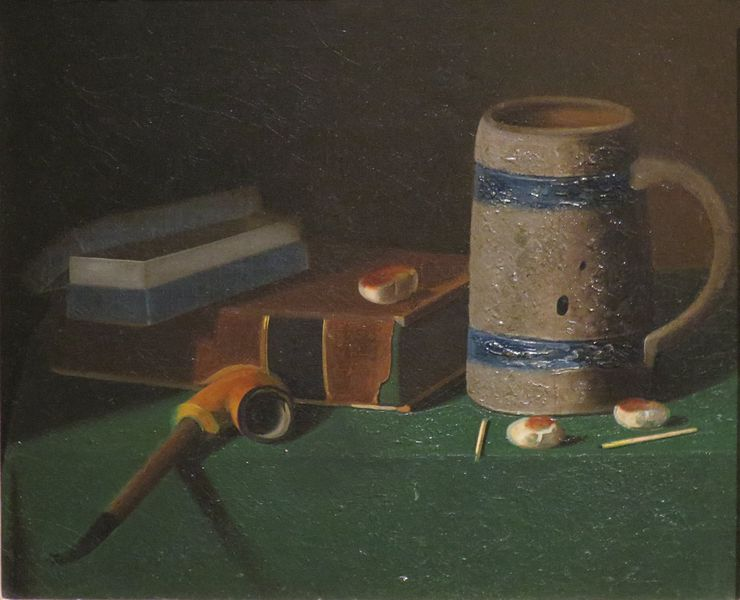 File:'Mug, Book, Smoking Materials and Crackers' by Peto, Dayton Art Institute.JPG
