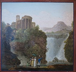 The Temple of Sibylla at Tivoli and a Waterfall