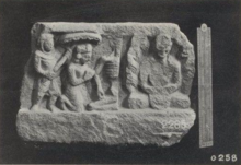 Relief with monk meditating at the right, and and on the left, half of a skeleton, a kneeling crowned figure and a second figure holding a parasol above the crowned figure