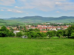 View of the village from the west; White Carpathians in the background