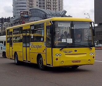 Marshrutka - Some Kiev marshrutka routes use big Bohdan A145. Kiev, Ukraine