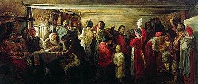 Русские свадебные обряды Википедия Андрей Рябушкин Крестьянская свадьба в Тамбовской губернии 1880 год