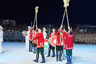 Military band - A Tajik military band with Karnays at a military tattoo at Zhurihe Training Base in the Chinese autonomous region of Inner Mongolia, 2014