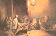 An opium den in 18th-century China through the eyes of a Western artist.