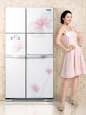 하상림 작가의 꽃 디자인이 적용된 냉장고와 김희애