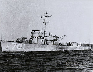 USS PC-823 - Baekdusan (PC-701) with South Korean flag painting on the side of the ship