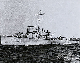 Battle of Korea Strait - Baekdusan (PC-701) with South Korean flag painting on the side of the ship