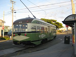 Wawona and 46th Avenue station - A historic streetcar at the stop in 2011