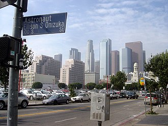 Ellison Onizuka - Downtown Los Angeles as seen from the corner of Ellison S. Onizuka St., San Pedro St. and 2nd St. in Little Tokyo