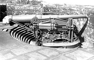 Fort Warren (Massachusetts) - 12-inch gun on disappearing carriage, similar to those at Fort Warren.