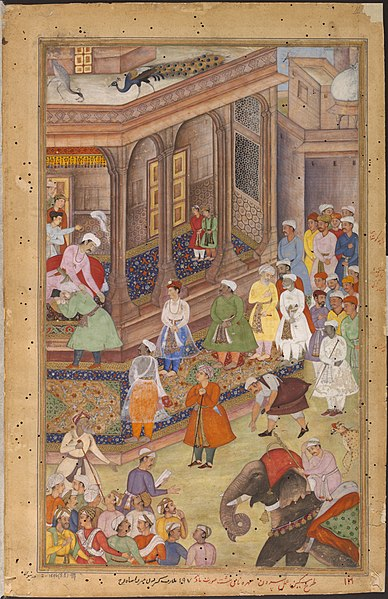 File:1577-Akbar greeting Rajput rulers and other nobles at court-Akbarnama.jpg