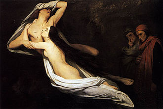 Francesca da Rimini and Paolo Malatesta Appraised by Dante and Virgil - Image: 1835 Ary Scheffer The Ghosts of Paolo and Francesca Appear to Dante and Virgil