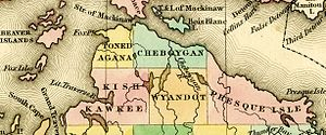 Emmet County, Michigan - Image: 1842 Tonedagana Cheboygan Kishkawkee Wyandot Presque Isle counties Michigan