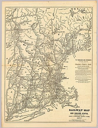 New York and New England Railroad - 1871 Map of New England railroads