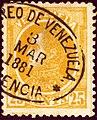 1881 25cents Venezuela oval Valencia Mi25x.jpg