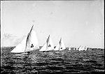 18 footer skiffs at the start of a race, Sydney Harbour (7799353508).jpg