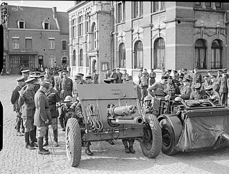 2nd Cinque Ports Artillery Volunteers - 18-Pounder being inspected in France, April 1940.