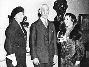 """Grand Central Art Galleries - Artist Malvina Hoffman; Stanley Field, director and the nephew of the founder of the Field Museum of Natural History in Chicago; and actress Mary Pickford; at the 1934 opening of Hoffman's Grand Central Art Galleries exhibition """"The Races of Man."""""""