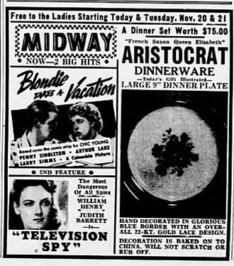 Television Spy - Newspaper advertisement for Blondie Takes a Vacation (1939) and Television Spy (1939)