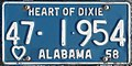 1958 Alabama passenger license plate.jpg