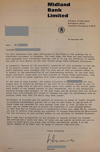 Transaction account - 1967 letter by the Midland Bank to a customer, informing on the introduction of electronic data processing and the introduction of account numbers for current accounts