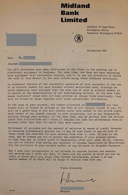 Letter from the Midland Bank to a customer, informing them of the introduction of electronic data processing and of account numbers for current accounts 1967 Midland Bank letter on electronic data processing.JPG