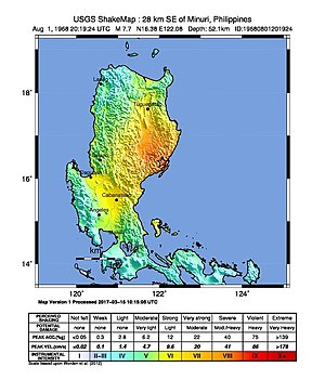 1968 Casiguran earthquake - Image: 1968 Casiguran earthquake