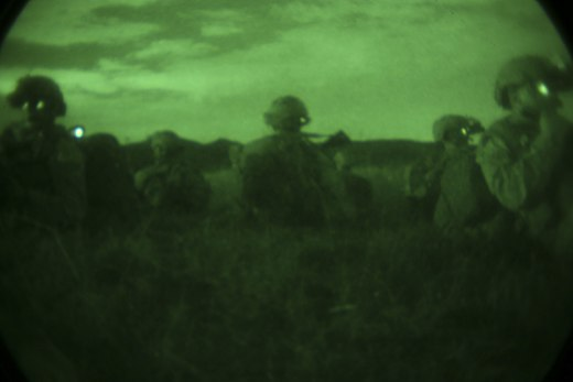 Night vision photograph of Company B, 1st Reconnaissance Battalion, 1st Marine Division during a night reconnaissance training mission, 2016 1st Recon Battalion owns the night 160928-M-OI329-002.jpg
