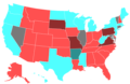 2000 United States House of Representatives Election by Change in the Majority Political Affiliation of Each State's Delegations From the Previous Election.png