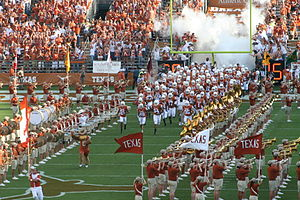 Theatrical smoke and fog - Fog is used for dramatic effect as the 2007 Texas Longhorn football team enters the field of play